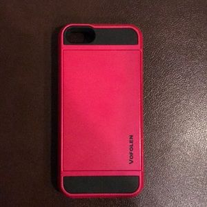 Accessories - Pink and black slide wallet case for iPhone 5s